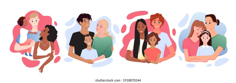 Multicultural multiracial happy family vector illustration. Cartoon parents and kids of different race and culture posing together, smiling with love, father mother and child hugging isolated on white