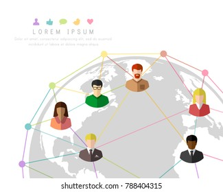 Multicultural people connecting to each other around the globe. Colorful lines and dots with Earth concept.