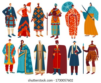 Multicultural people in traditional national costumes, isolated cartoon characters, vector illustration. Hand drawn men and women wearing ethnic clothes of different countries Europe, Asia and Africa