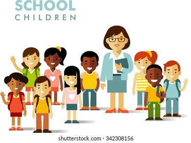 Multicultural school children group and teacher in flat style isolated on white background