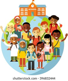 Multicultural school kids concept. Different school children on earth globe and school background in flat style