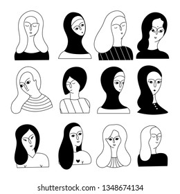 A multicultural set of women faces (Muslim, Asian, European, Hindu) on a white background. Social diversity. Doodle cartoon vector illustration.