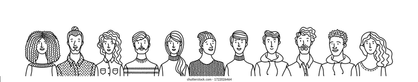 Multicultural smiling adult men and women standing together. International community concept with diverse people outline vector illustration. Multiethnic group of happy people