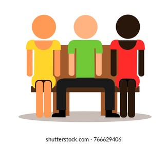 Multicultural three people sit on bench - manspreading / love triange with two women and men. Impolite male spreads legs on public space / polyamory and polygamous couple. Vector illustration