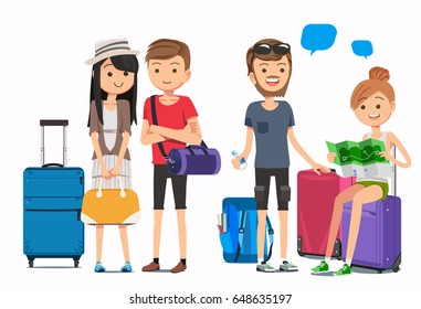 Multicultural travelers. Travel arrangements with airlines. Tourist and luggage in cute style