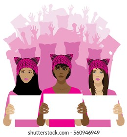 Multicultural women marching in a crowd of protestors while wearing knit pink cat hats as a symbol of female solidarity. EPS 10 vector.