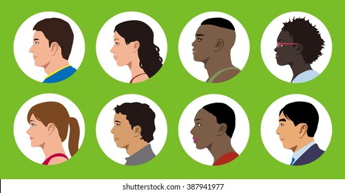 multicultural women and men profile icon set, face as seen from the side, avatar icons, vector illustration