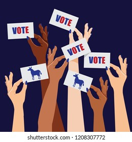Multicultural women voting Democratic. Female hands holding up cards that say vote. Democratic donkey. EPS10 vector illustration.