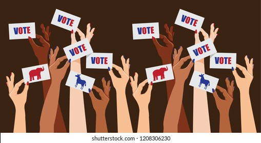 Multicultural women voting. Women's hands holding cards with Democratic donkey, Republican elephant and the word vote. EPS10 vector illustration.