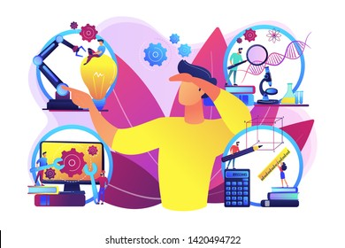 Multidisciplinary teaching method, modern learning system, knowledge gaining. STEM education, STEM integration, engineering for kids concept. Bright vibrant violet vector isolated illustration