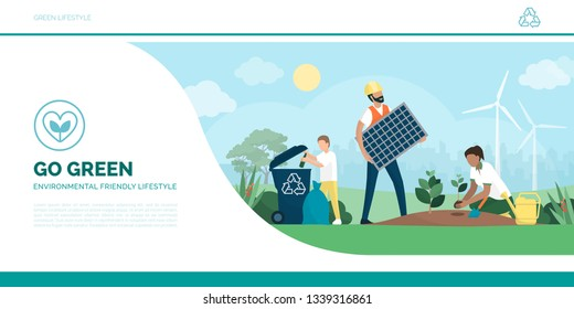 Multiethnic active family helping the environment: the child is recycling waste, the man is installing a solar panel and the woman is growing new plants, eco-friendly lifestyle and sustainability