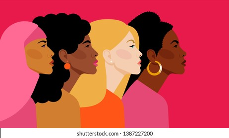 Multi-ethnic beauty. Different ethnicity women: African, Asian, Chinese, European, Latin American, Arab. Women different nationalities and cultures. The struggle for rights, independence, equality.