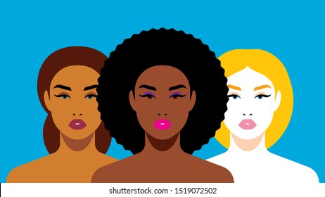Multi-ethnic beauty. Different ethnicity women: African, European, Latin American. Women different nationalities and cultures. The struggle for rights, independence, equality.