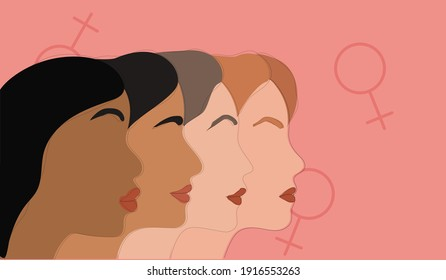 Multi-ethnic beauty. Different ethnicity women - Caucasian, African, Asian and Indian. International women's day
