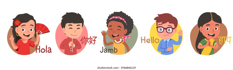 Multiethnic boys, girls kids say hello in different languages. Diverse people in national costumes show greeting gestures, wave hands. International friendship set. Flat vector character illustration