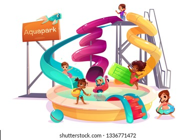 Multiethnic boys and girls sliding form water slide, swimming with inflatable ring, playing and having fun in pool cartoon vector isolated on white background. Children in amusement park attractions