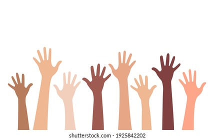 Multi-ethnic and Diverse Hands Raised Up Isolated on White Background. Vector Illustration