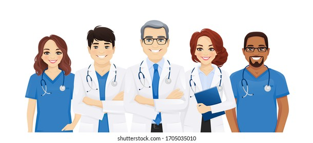 Multiethnic doctor team group with leader isolated vector illustration