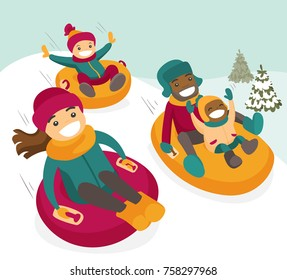 Multiethnic family sliding down the hill on tubes in winter park. African father and Caucasian mother with kids enjoying a ride on inflatable sledges. Vector isolated cartoon illustration.