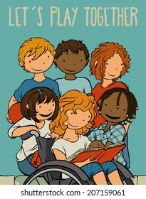 Multiethnic Group Of Kids (And Child Using A Wheelchair) Playing Together -  Poster Illustration For Children,Vector Cartoon About Difference.