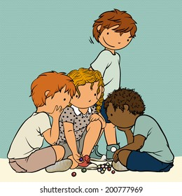Multiethnic Group of Kids Playing Marbles -  Illustration for Children, Vector Cartoon, Traditional Childhood Games