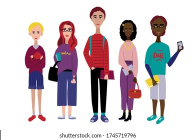 Multi-ethnic group of people character illustration. Flat style design. Students with books, bags, tablets. smartphones in hands. Six young people colorful picture.