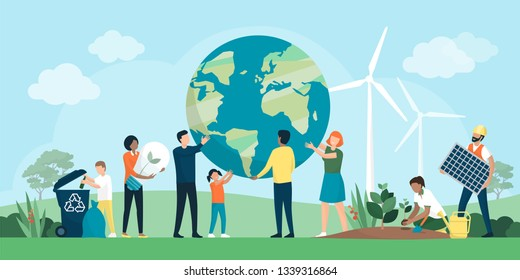 Multiethnic group of people cooperating for environmental protection and sustainability in a park: they are supporting earth together, recycling waste, growing plants and choosing renewable resources