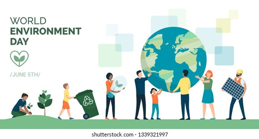 Multiethnic group of people cooperating for a sustainable eco-friendly lifestyle on world environment day: they are supporting planet earth, growing plants, recycling and choosing renewable resources