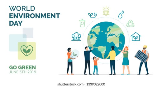 Multiethnic group of people cooperating for a sustainable eco-friendly lifestyle on world environment day: they are supporting planet earth, recycling and choosing renewable resources