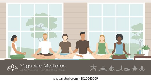 Multiethnic group of people sitting together in the lotus position, they are practicing mindfulness meditation and yoga, healthy lifestyle and spirituality concept