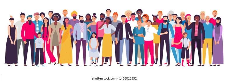 Multiethnic group of people. Society, multicultural community portrait and citizens. Young, adult and elder people. Aging african and asian ladies or european students vector illustration