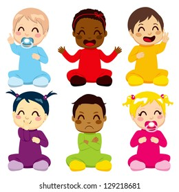 Multi-ethnic group of six children in colorful baby suits making different expressions