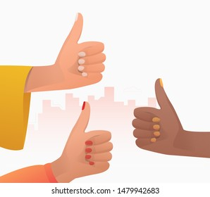 Multiethnic group of women showing like. Hands, thumb up, good job gesture. Feedback concept. Vector illustration for topics like positive review, success, teamwork
