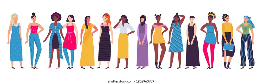 Multiethnic group of women. Vector diverse standing female african and asian, diversity girl international, unity move illustration