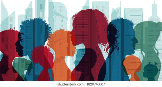 Multiethnic and multicultural population and society. Family community. Group of people diversity silhouette from the side. Crowd. Communication and connection people of different culture