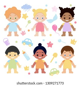 Multiethnic or multinational baby girls set isolated on white background. Cute babies with different skin, eyes and hair color. Vector illustration in flat style.