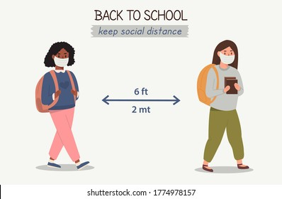 Multiethnic multiracial children who wear and protect themselves with medical masks and respect social distance. Concept of social distancing between schoolgirls. Going back to school after pandemic.