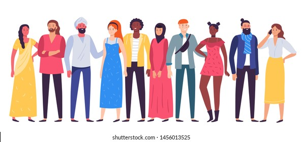 Multiethnic people group. Workers team, diverse people standing together and coworkers in casual outfit. Multicultural work corporate resources characters posing flat vector illustration