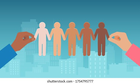 Multiethnic race unity concept. Vector of a multiracial hands holding chain of paper people pictogram