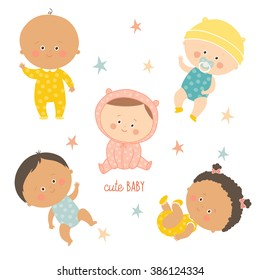 Multi-ethnic set of babies in different poses. Toddler girls and boys. Cartoon vector hand drawn eps 10 illustration isolated on white background.