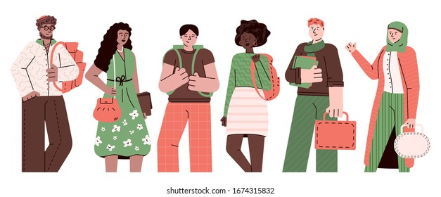 Multi-ethnic students or young people group cartoon vector illustration isolated.