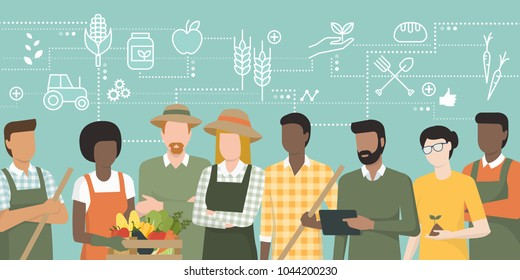 Multiethnic team of farmers working together and connecting with a tablet, network of concepts on the top: agriculture and food production