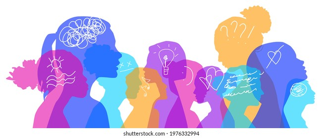 Multiethnic women with different thoughts in their heads, vector illustration. Female faces of diverse cultures in propfile thinking positive and negative ideas