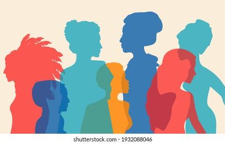 多民族の女性シルエット。 異なる民族性の女性: アフリカ、アジア、中国、ヨーロッパ、アラブ。 人種的平等と反人種差別。 権利、独立、平等を求める闘い。 多文化の
