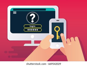 Multi-factor authentication or MFA concept. Vector illustration