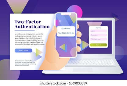 Multi-factor authentication (MFA) SMS code password. Man sits in front of the laptop with phone and getting access to the website two step verification. Design concept from web banner and advertising.