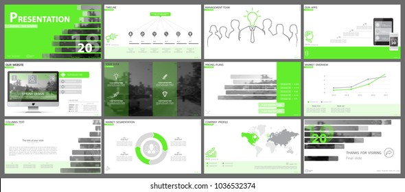 Multifunctional green,gray presentation templates. Vector set, elements of infographics, white background. Postcard, postcard, corporate report,marketing, advertising,banners.Track,photo,annual report