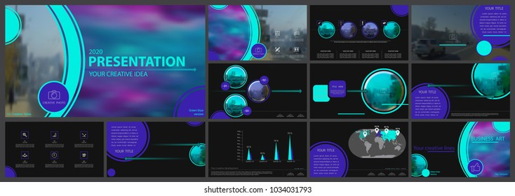 Multifunctional multi-color presentation template. Vector set, elements of infographics, black background. Postcard,postcard,corporate report, marketing, advertising, banners.Track,photo,annual report