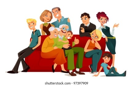 multi-generation family posing on a red sofa