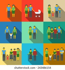 Multigenerational family flat long shadow icons set with all ages family members. Vector